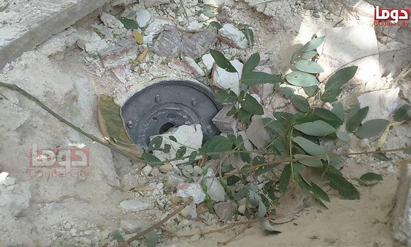 من مخلفات القنابل العنقودية في مدينة دوما- الأحد 21 آب (تنسيقية دوما)