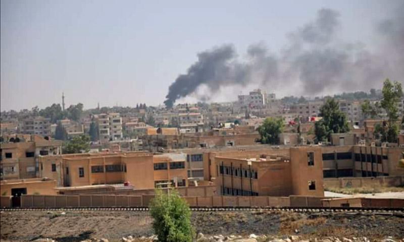 آثار القصف على الحسكة - الجمعة 19 آب (تويتر)