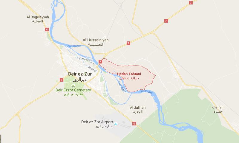 خريطة تظهر موقع البلدة شرق دير الزور (خرائد غوغل)