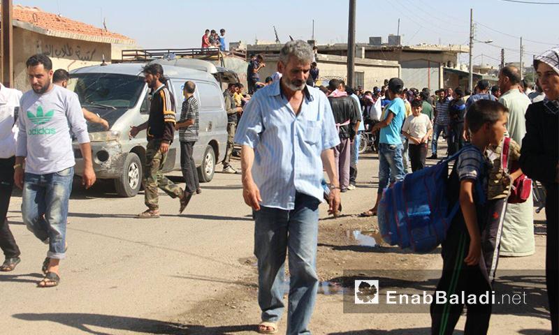 تعبيرية: نازحو قريتي قزحل وأم القصف في بلدة الدار الكبيرة بريف حمص الشمالي - تموز 2016 (عنب بلدي)