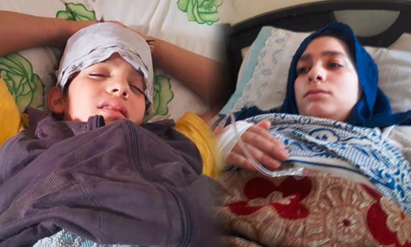 الطفل يامن عز الدين والشابة نسرين الشماع (فيس بوك)