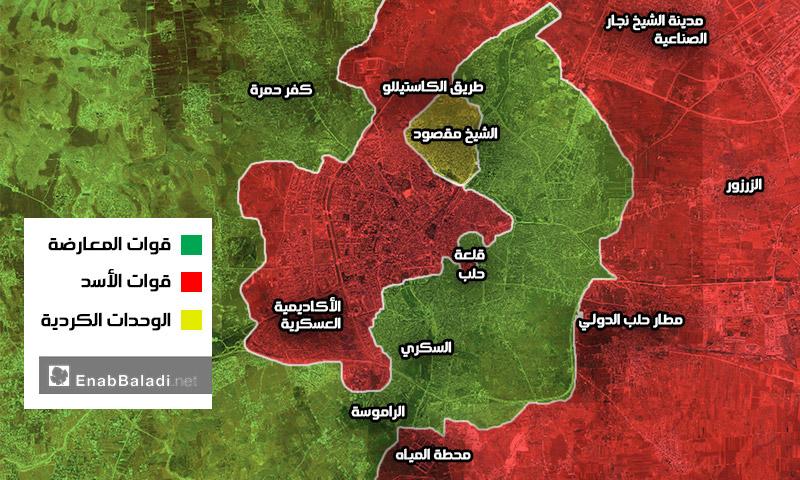 خريطة تظهر توزع السيطرة في مدينة حلب - 8 آب 2016 (عنب بلدي)