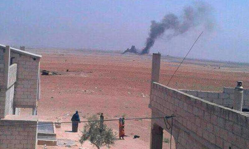 صورة تناقلها ناشطون على أنها مكان المروحية التي سقطت جنوب حلب - الاثنين 1 آب (فيس بوك)