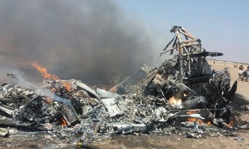 حطام المروحية الروسية بين إدلب وحلب - الاثنين 1 آب (فيس بوك)