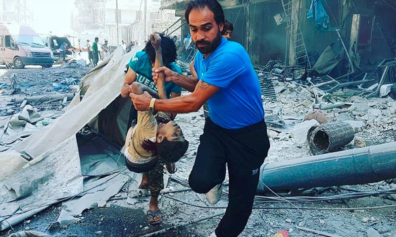 آثار القصف على حي طريق الباب في حلب - الثلاثاء 16 آب (المصور عبدو خضر)