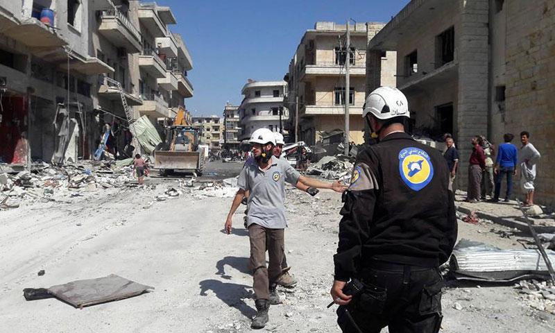 الدمار الذي خلفته الغارات الروسية على مدينة إدلب- الأربعاء 17 آب (شبكة أخبار إدلب)
