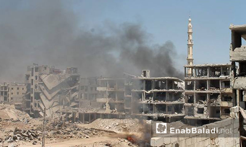 حرائق ودمار كبير في مدينة داريا- السبت 13 آب (عنب بلدي)