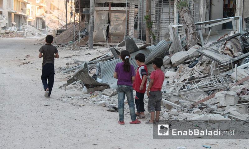 أطفال في مدينة داريا- 22 تموز 2016 (عنب بلدي)