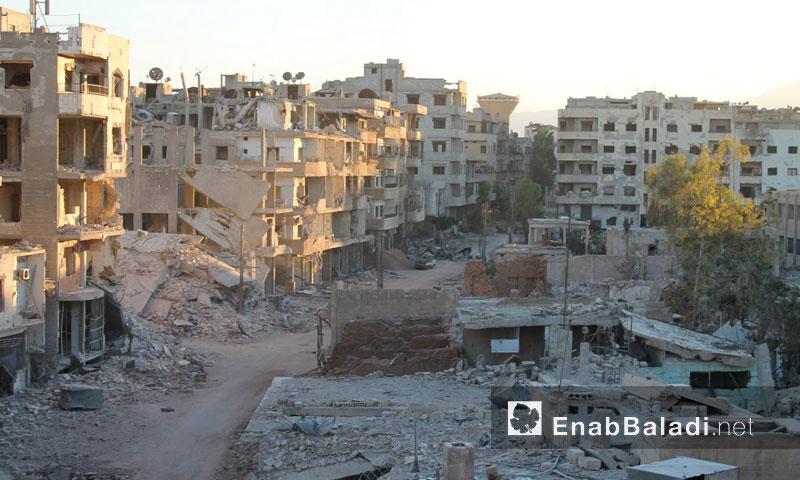 جانب من الدمار في مدينة داريا- 22 تموز 2016 (عنب بلدي)