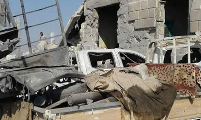 مكان الغارة التركية على أطراف بلدة العمارنة جنوب جرابلس- الأحد 28 آب (تويتر)