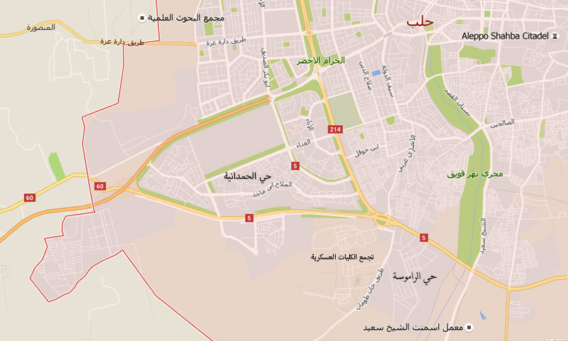 خارطة تظهر تماس حي الحمدانية بتجمع الكليات العسكرية التي سيطرت عليها فصائل المعارضة في مدينة حلب (عنب بلدي)