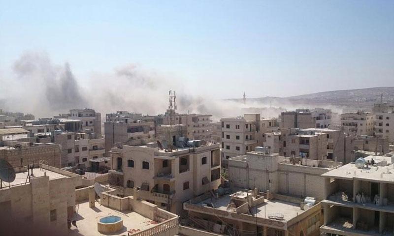 غارات جوية على بلدة الدانا في ريف إدلب- الخميس 11 آب (تويتر)