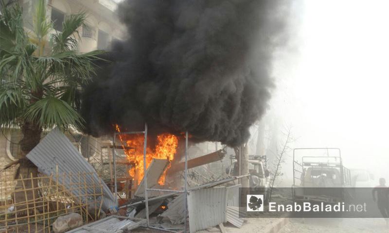 غارات للطيران الحربي على حي الوعر في مدينة حمص- السبت 27 آب (عنب بلدي)