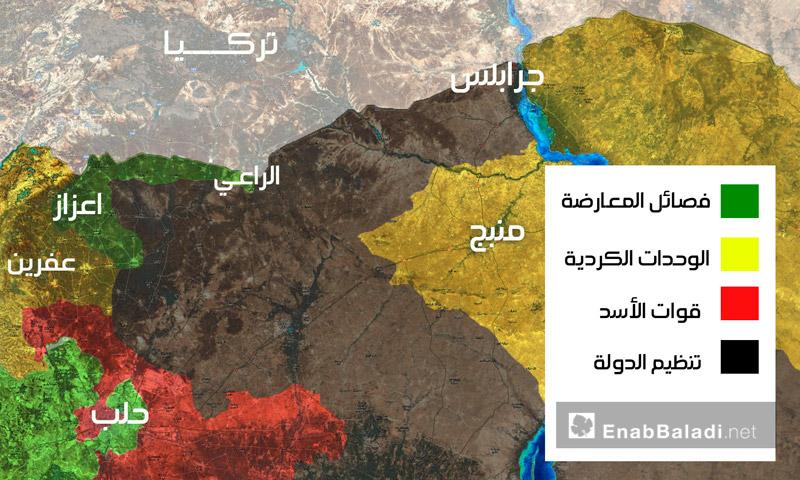 خريطة السيطرة شمال حلب - 23 آب 2016 (عنب بلدي)