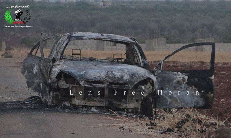 السيارة التي استهدفتها قوات الأسد على طريق طفس اليادودة- السبت 6 آب (تجمع أحرار حوران)
