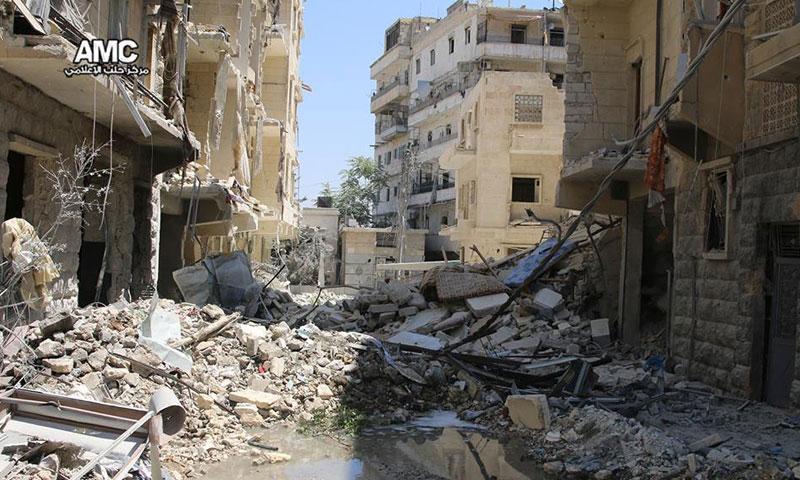 آثار الدمار في حي السكري بمدينة حلب- الأربعاء 3 آب (مركز حلب الإعلامي)