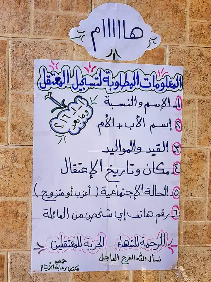 معلومات تسجيل المعتقلين الجدد في حي الوعر بحمص - 27 أيلول (فيس بوك)