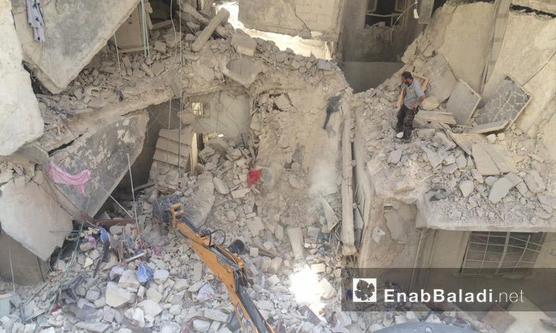 آثار القصف على حي السكري في حلب - الاثنين 5 أيلول (عنب بلدي)