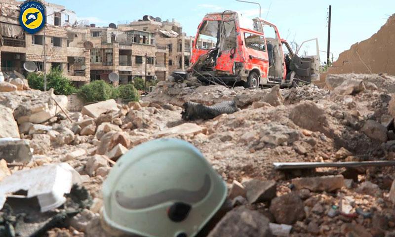 آثار استهداف أحد مراكز الدفاع المدني في حلب - 23 أيلول (الدفاع المدني في حلب)