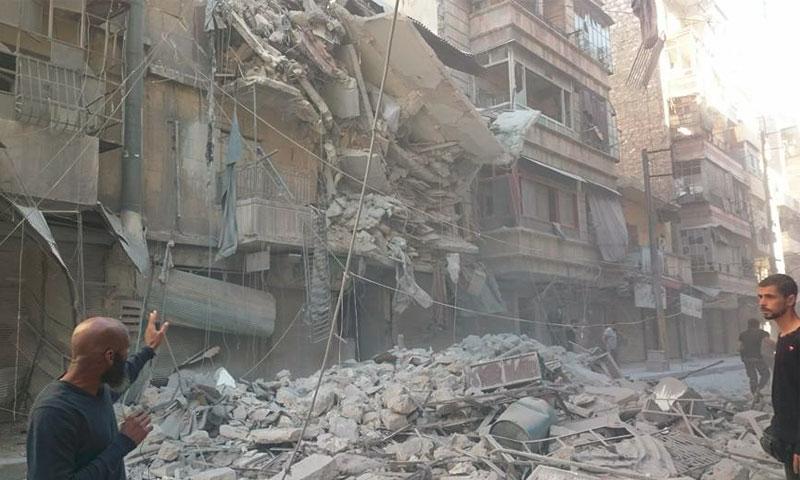 آثار القصف على حي الشعار في حلب - 27 أيلول (فيس بوك)