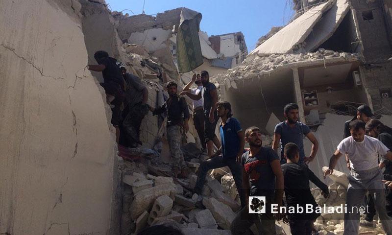 دمار كبير خلفه القصف على مدينة حلب- السبت 10 أيلول (عنب بلدي)