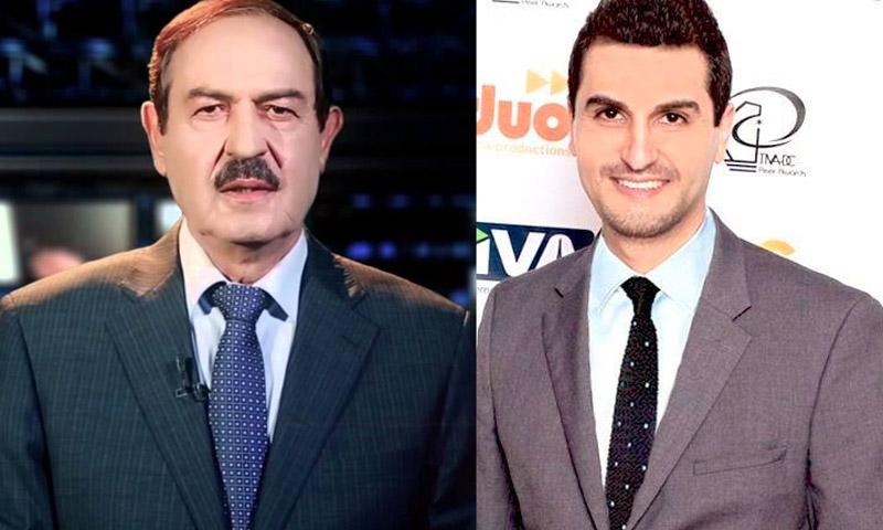 المخرج عروة الحلاق (يمين الصورة( ووالده الإعلامي السوري توفيق الحلاق (يسار)