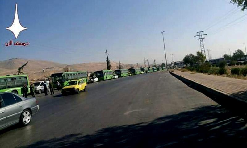 الحافلات قبل وصولها إلى معضمية الشام - الجمعة 2 أيلول (دمشق الآن الموالية)