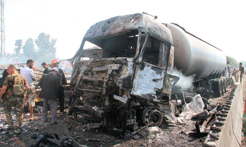 تفجيرات جسر أرزونة في مدخل طرطوس - الاثنين 5 أيلول (سانا)