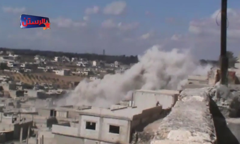 آثار القصف على الرستن - الجمعة 23 أيلول (يوتيوب)