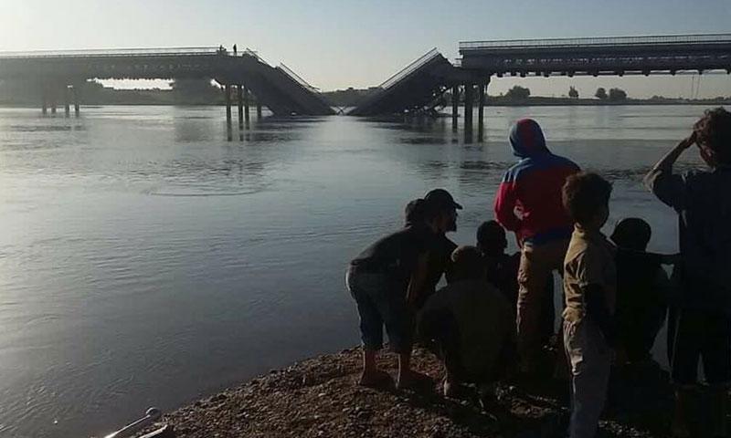 غارات لطيران التحالف تدمر جسر العشارة في ريف دير الزور- الأربعاء 28 أيلول (تويتر)