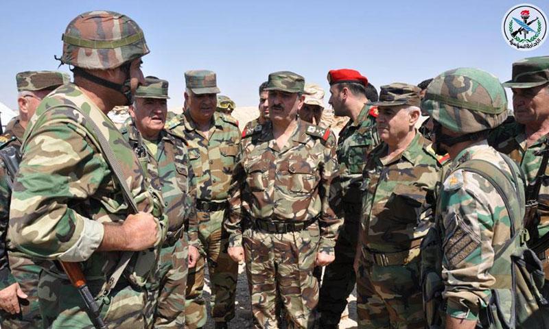 وزير دفاع النظام السوري في ريف حمص الشرقي- الثلاثاء 13 أيلول (سانا)