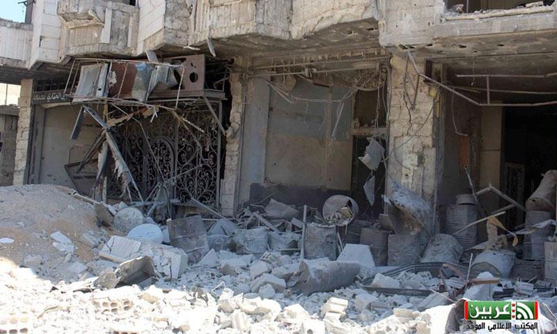 آثار الدمار جراء استهداف مدينة عربين- الخميس 29 أيلول (فيس بوك)