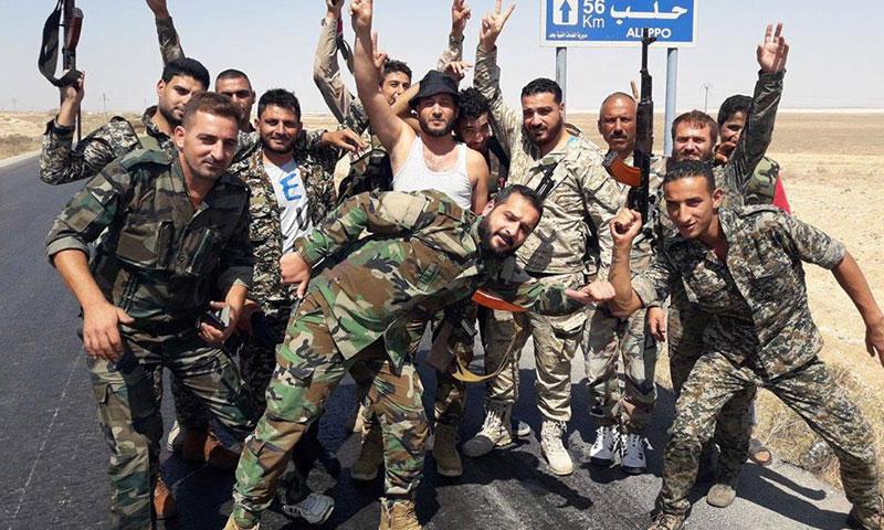 عناصر من قوات الأسد في ريف حلب- الخميس 22 أيلول (فيس بوك)