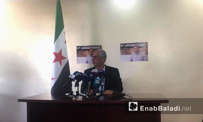 مؤتمر صحفي لرئيس الحكومة المؤقتة جواد أبو حطب- الخميس 22 أيلول (عنب بلدي)