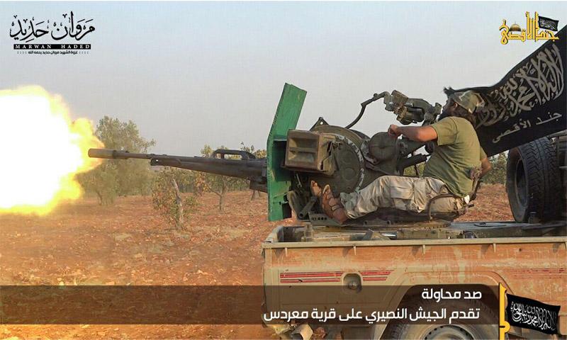 """معارك فصيل """"جند الأقصى"""" في ريف حماة الشمالي 31 آب (تويتر)"""