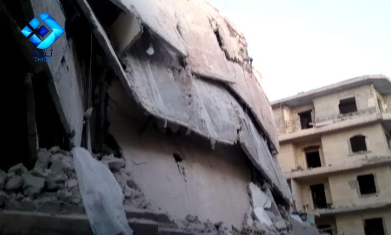 تعبيرية: آثار القصف على كفرحمرة في ريف حلب الشمالي - الخميس 14 تموز (وكالة ثقة)