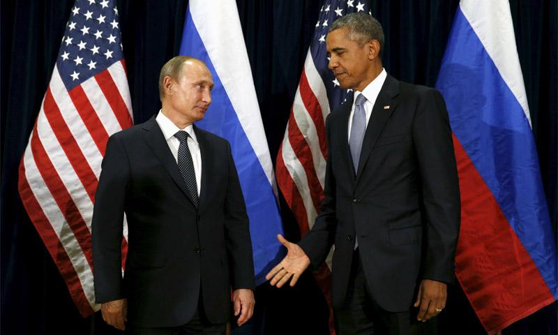الرئيس الأمريكي، باراك أوباما، ونظيره الروسي، فلاديمير بوتين (انترنت)