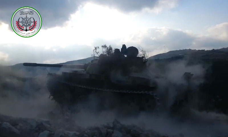 """دبابة تابعة للفرقة """"الأولى الساحلية"""" في """"الجيش الحر"""" (فيس بوك)"""