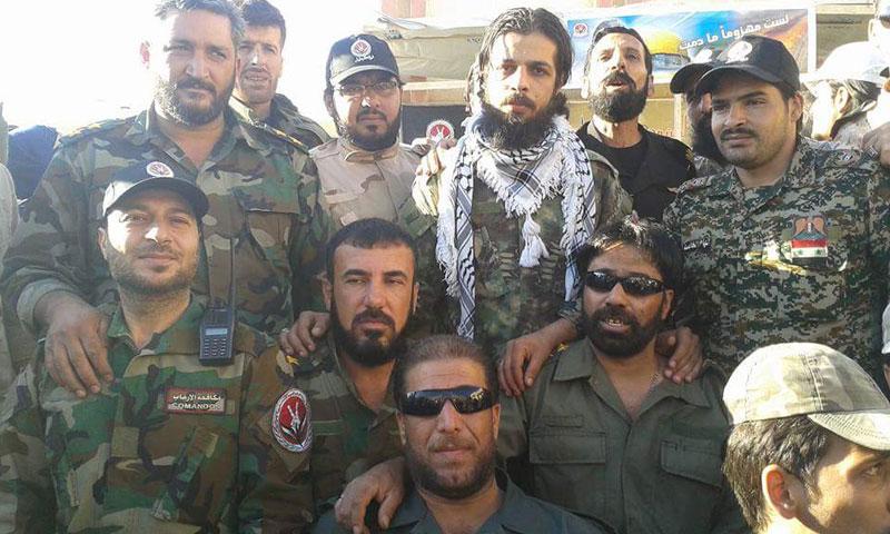 """عناصر من ميليشيا """"قوات الجليل"""" يتوسطهم مؤسسها فادي الملاح (فيس بوك)"""