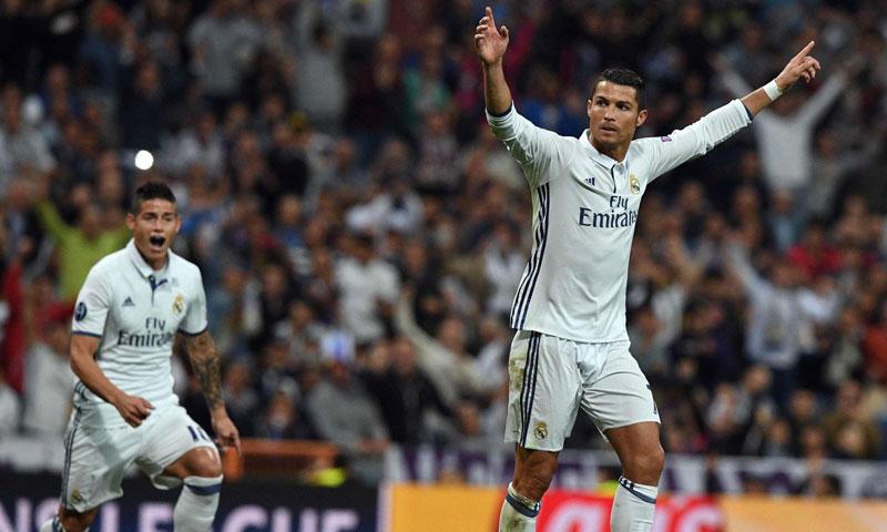رونالدو في مباراة ريال مدريد وسبورتنغ لشبونة (وكالات)