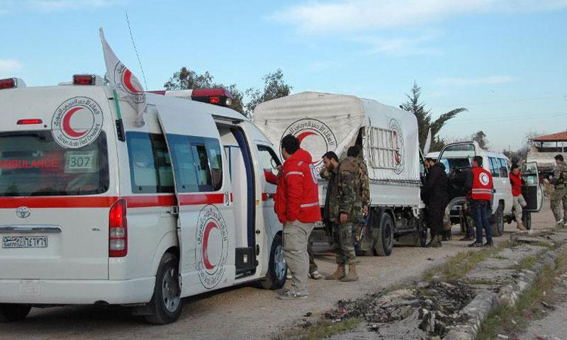 أرشيفية- قوافل إغاثية تابعة للهلال الأحمر السوري