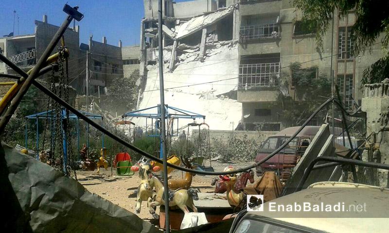 آثار القصف على مدينة دوما بالغوطة الشرقية - السبت 10 أيلول (عنب بلدي)