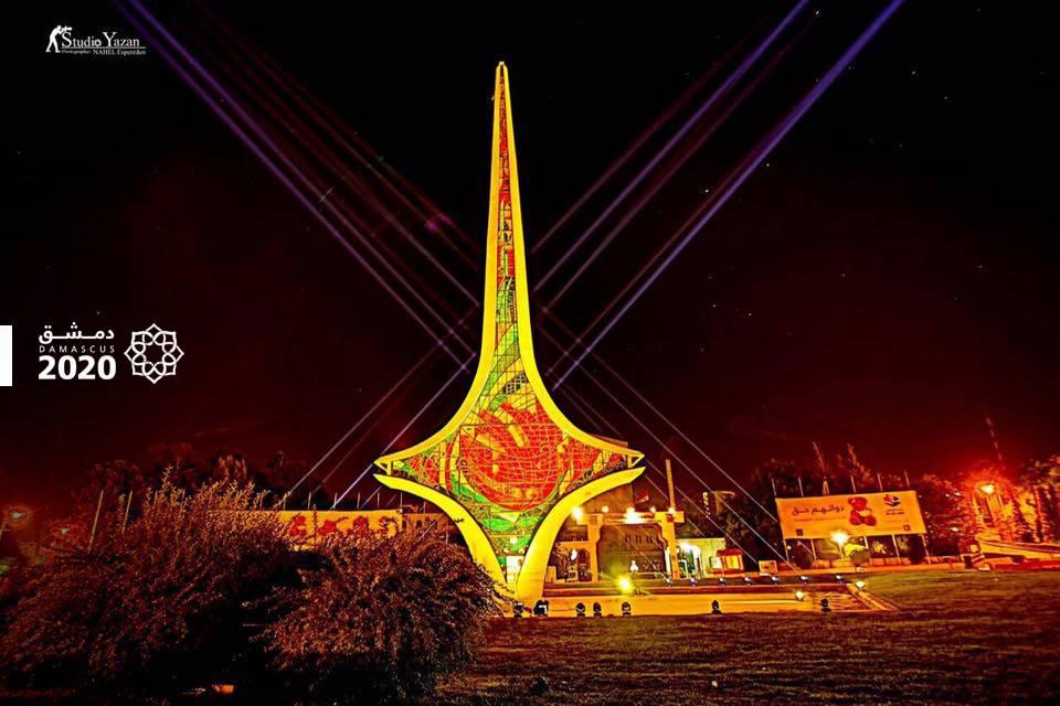 نصب السيف الدمشقي في ساحة الأمويين في دمشق- الخميس 13 تشرين الأول (فيس بوك)