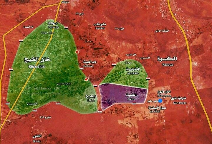 خريطة السيطرة في منطقة خان الشيح (إنترنت)