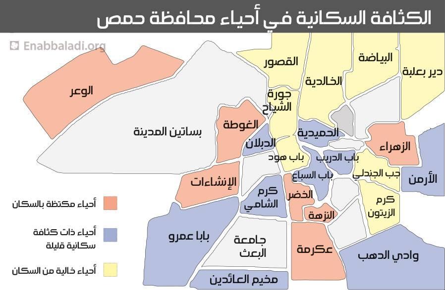 الكثافة السكانية في أحياء حمص (عنب بلدي)