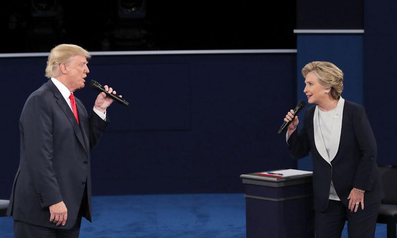 دونالد ترامب وهيلاري كلينتون في المناظرة الأخيرة- الخميس 19 تشرين الأول (وكالات)