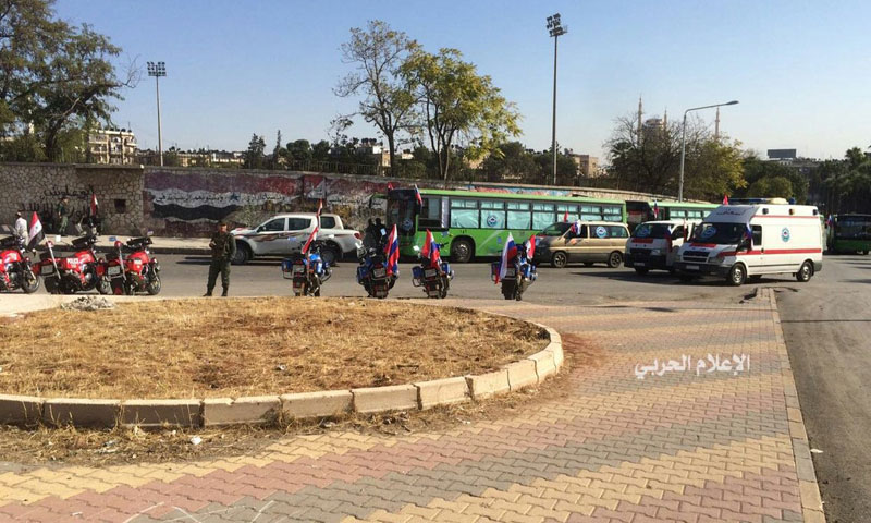 الجانب الواقع تحت سيطرة النظام من معبر بستان القصر- الخميس 20 تشرين الأول (الإعلام الحربي)