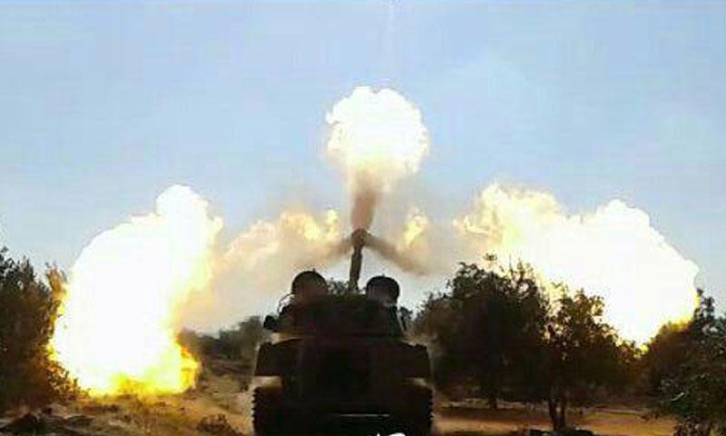 """دبابة تابعة لـ """"جيش العزة"""" في مدينة صوران- الأحد 23 تشرين الأول (تويتر)"""