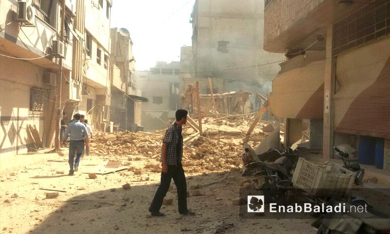 آثار القصف على مدينة دوما في الغوطة الشرقية - الخميس 8 أيلول (عنب بلدي)