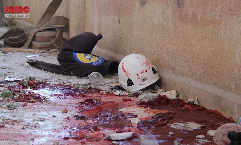 مركز للدفاع المدني في مدينة معرة النعمان عقب استهدافه من الطيران الحربي- الخميس 20 تشرين الأول (مركز المعرة)